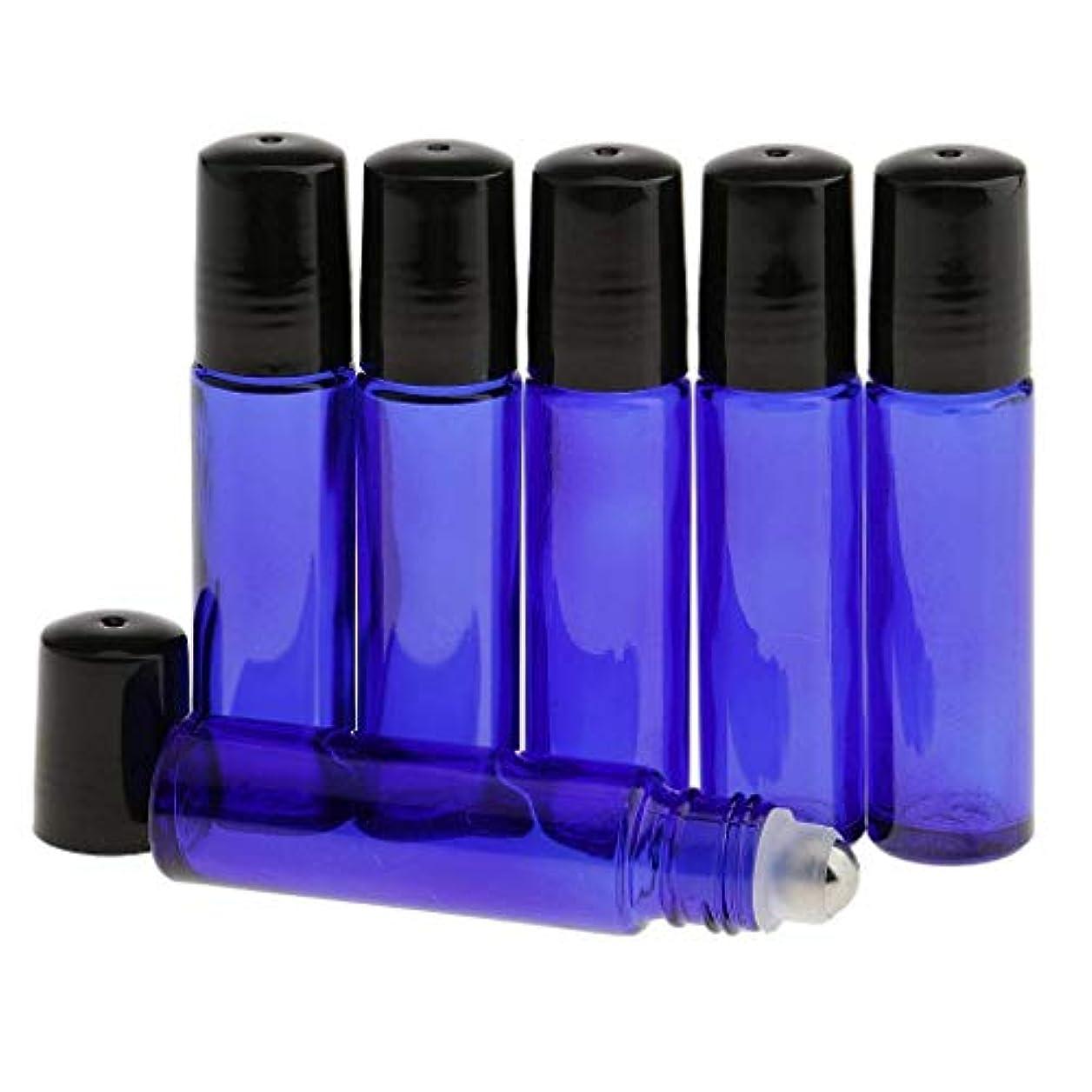 シャッター眠っているシャイMini Rainbow ロールオンボトル 遮光瓶 ガラスロールタイプ 6 本セット (ブルー)
