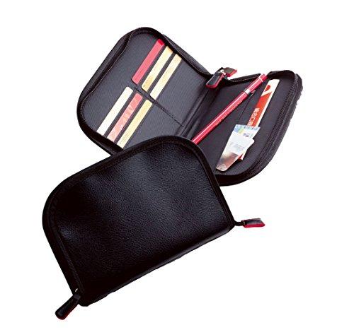 マルチケース 黒色におしゃれな差し色の赤が映えるシックなデザイン