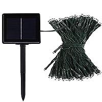 LEDイルミネーション ソーラー充電式 8パターン 50球 5m 自動ON/OFF クリスマス 屋外 防雨 (グリーンコード, パープル)