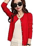 (スカイシイ) skySea カーディガン 長袖 薄手 トップス オフィス 黒 赤 白 ピンク M L XL (L, 赤)