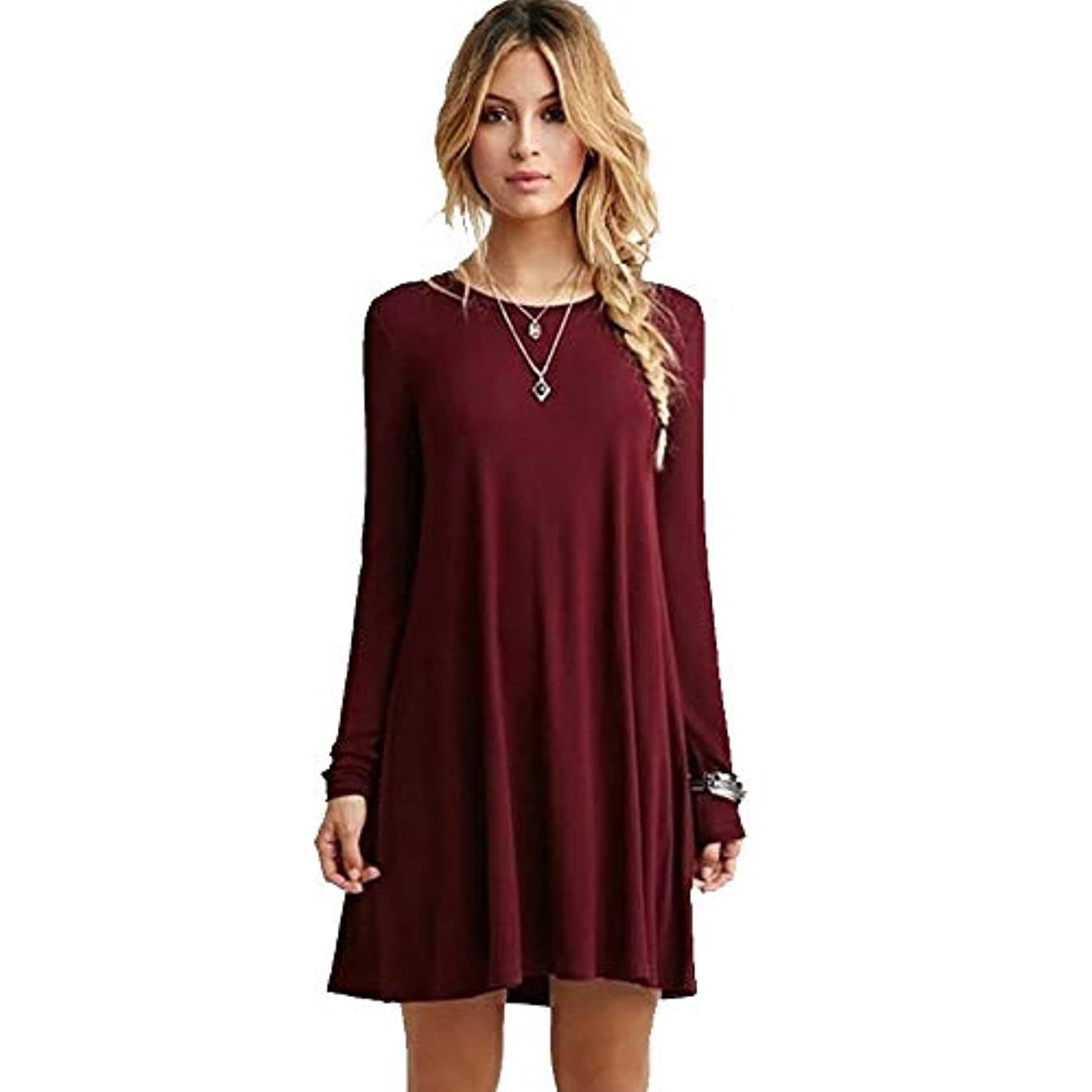 定期的な統計販売員MIFANルースドレス、プラスサイズのドレス、長袖のドレス、女性のドレス、秋のドレス、マキシドレス、コットンドレス