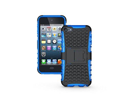 ipod touch 6 ケース アイポッド タッチ5 6 ケース カバー【Ourkens】iPod touch 5 6対応ケース 組み立て式 スタンド機能付 TPU+PC製 背面カバー 保護ケース (ブルー)