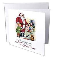 BLNヴィンテージクリスマスデザイン–ビンテージサンタ子と彼のバッグのおもちゃクリスマスカードデザイン–グリーティングカード Set of 6 Greeting Cards