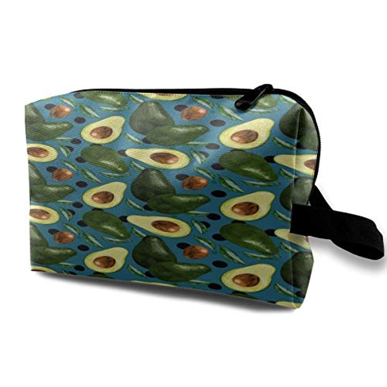 サミット軽く専門用語Avocado Pattern (3) 収納ポーチ 化粧ポーチ 大容量 軽量 耐久性 ハンドル付持ち運び便利。入れ 自宅?出張?旅行?アウトドア撮影などに対応。メンズ レディース トラベルグッズ