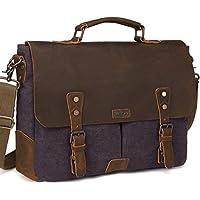 Vaschy Casual Genuine Leather Canvas Messenger Bag 14-17 inch Laptop Shoulder Bag Bookbag