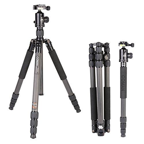ビデオ カメラ 三脚 一脚 4段 カーボン製 軽量 コンパクト 折り畳み可能 中心軸反転可能 一脚に変更 自由雲台 水準器 クイックシュー 専用ケース付き 登山 運動会 旅行 Canon Nikon Petax Sonyなど 一眼レフ カメラ用 TN286C
