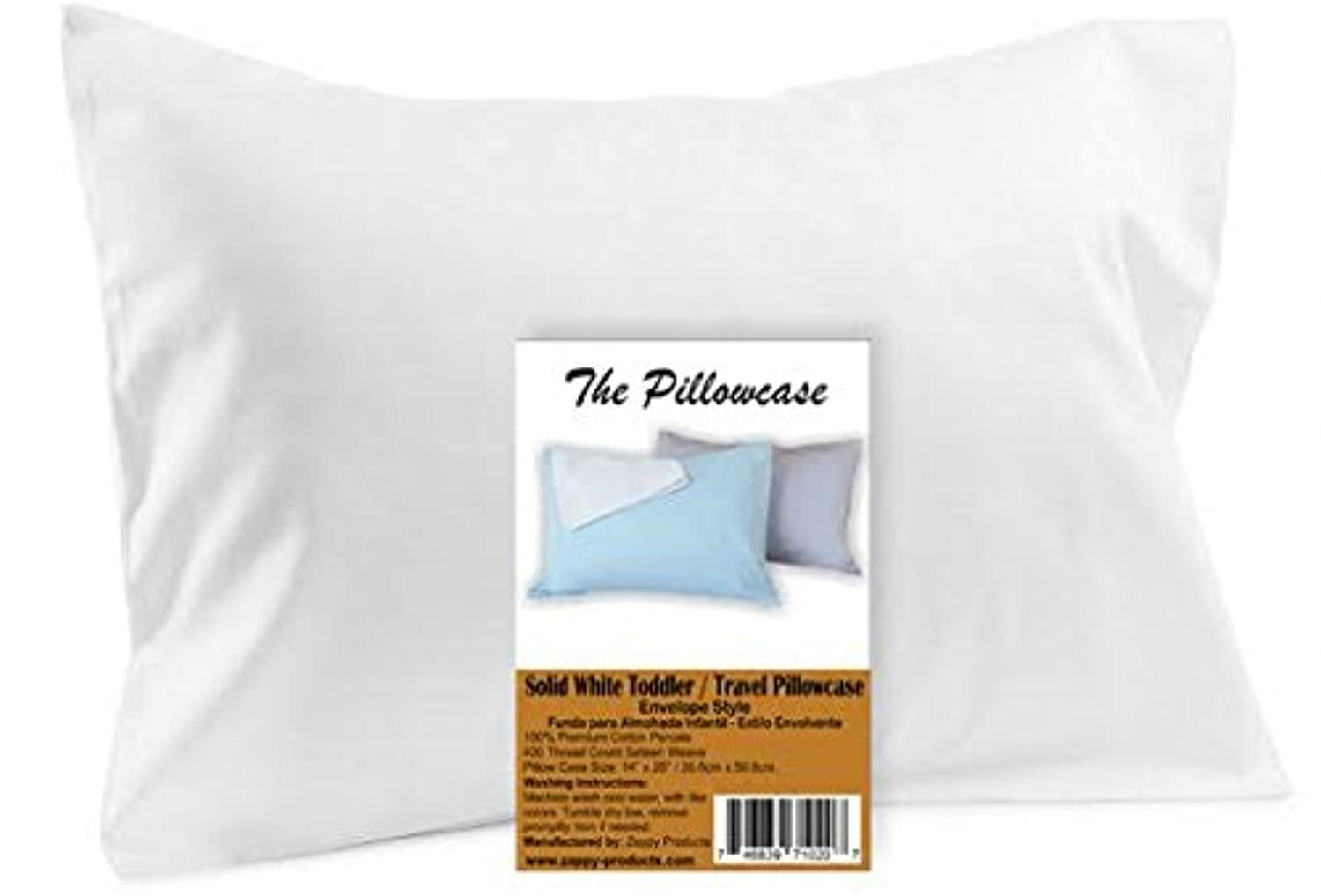 Toddler Travel Pillowcase 100% Softest Cotton Sateen Pillow Case, Fits 13x18, or 14x19 Toddler Travel Pillows - Naturally Hypoallergenic - Envelope Style Cases 400/500 Thread Ct (White) by The Pillowcase