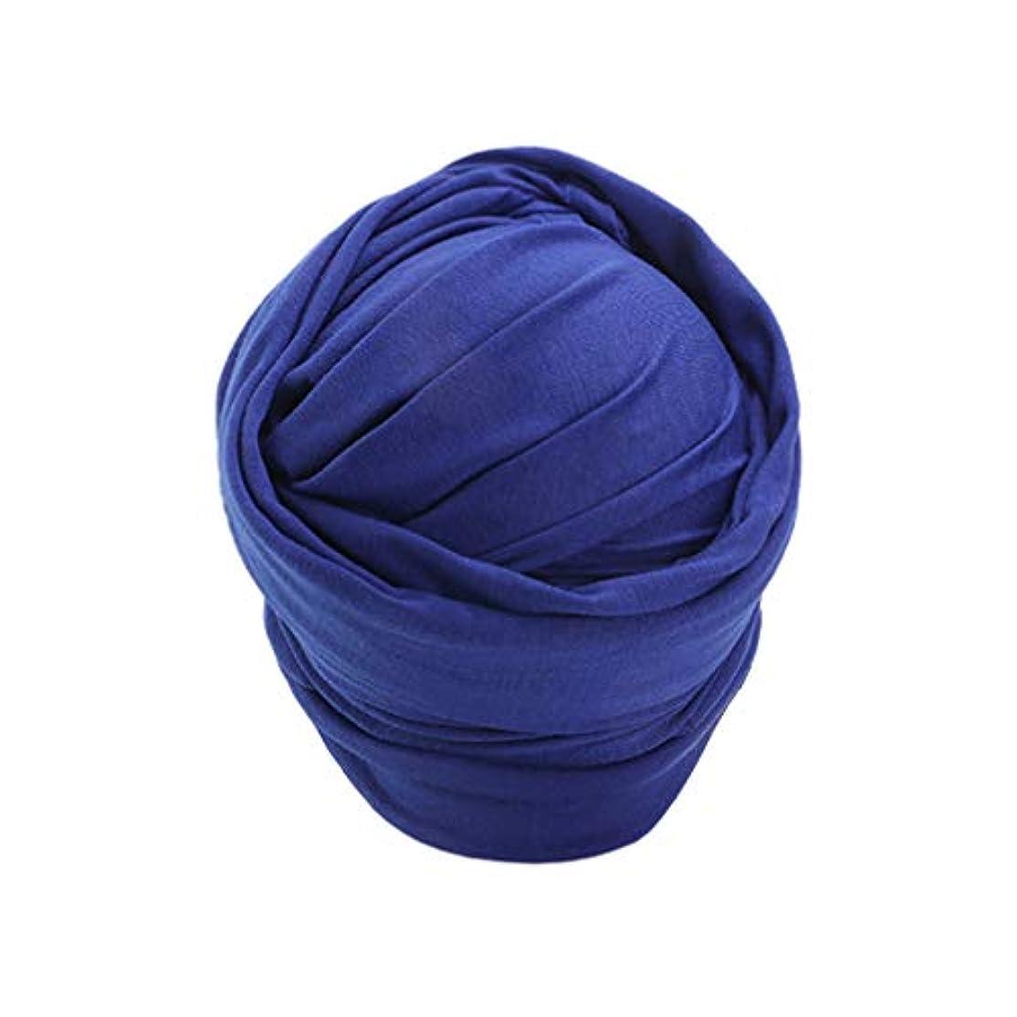 容量開梱ゴールデンHealifty 女性のためのターバンヘッドラップクロスインスタントスカーフヘッドバンドイスラム教徒のヘッドラップブルー