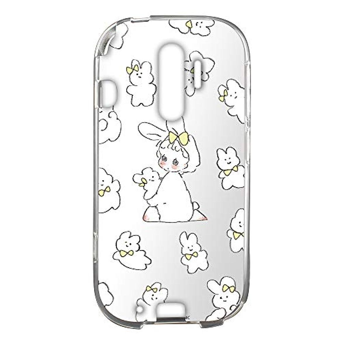 やむを得ない何故なの第五Caho らくらくスマートフォン4 F-04J ケース クリア TPU WHITENUTS プリント うさぎC (ch-053) TC-C0170749