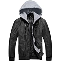 Wantdo Men's Faux Leather Jacket Moto Hoodie Jacket PU Outwear Warm Jacket