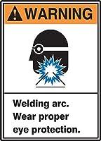 Accuform MRLD300VS Sign Legend WARNING WELDING ARC. WEAR PROPER EYE PROTECTION 14 Length x 10 Width x 0.004 Thickness Adhesive Vinyl 14 x 10 Blue/Orange/Black on White [並行輸入品]