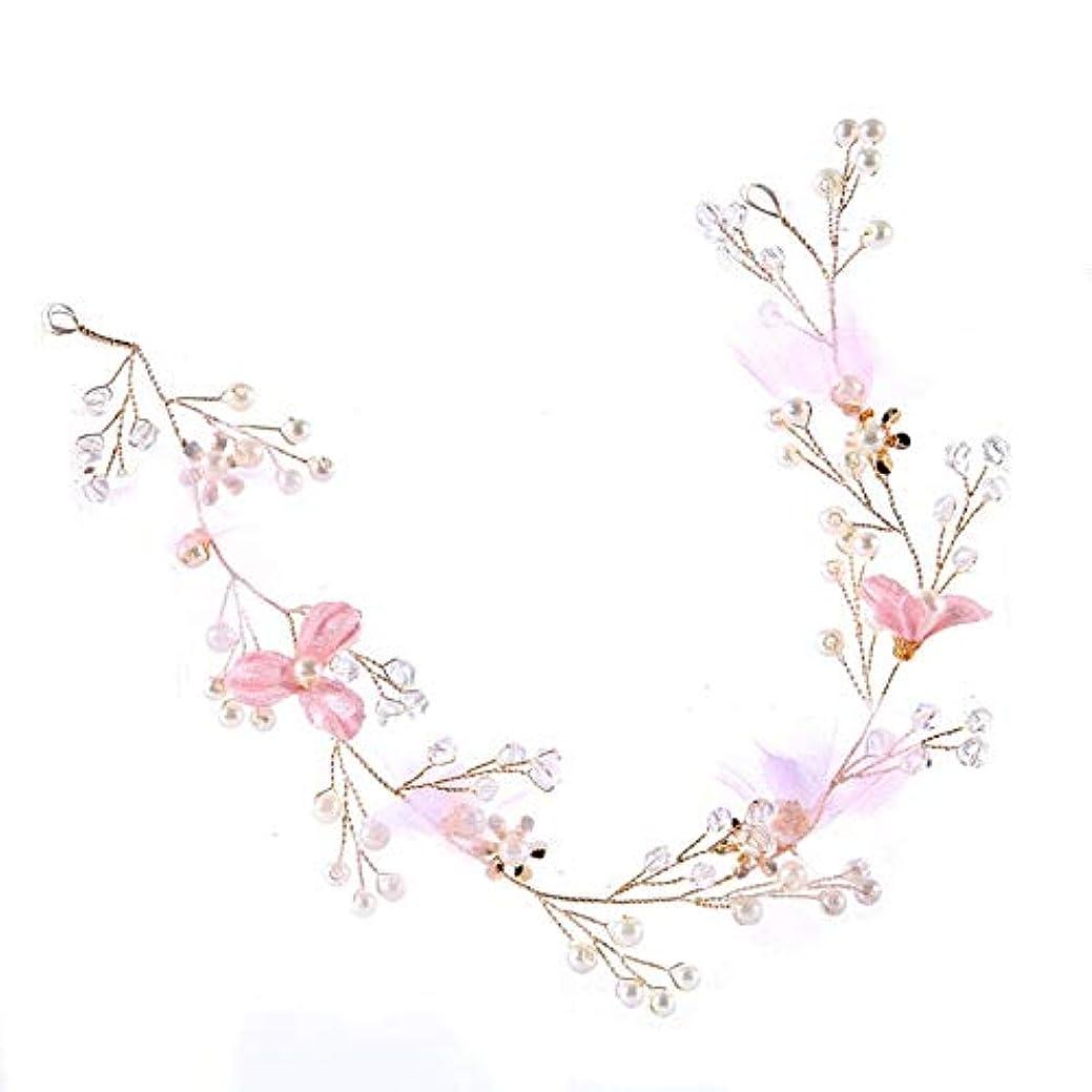 スチュワード遊具レディ花嫁のための西洋の結婚式のファッション頭飾り手作りの結婚式の花の真珠のヘアアクセサリー-ゴールド