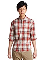 3/4 Sleeve Check Buttondown Shirt 3216-149-0333: Red
