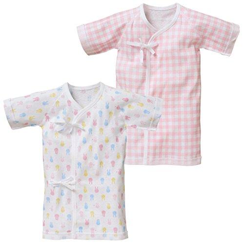 西松屋[EFD] 2片老板内衣(象图案/兔图案)[新生儿50-60cm]