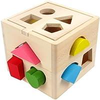 木製Shape Sorting Cube for Toddlers by kidzzingz – 13異なるカラフルShapes with Easy Openキューブ