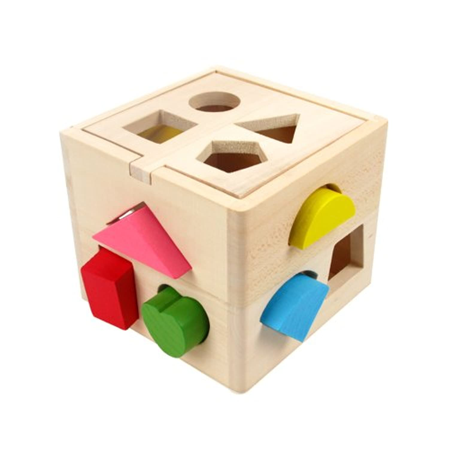 木製Shape Sorting Cube for Toddlers by kidzzingz – 13異なるカラフルShapes with Easy Openキューブ