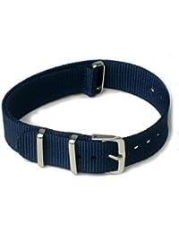 ノーブランド品 ベルト NATOタイプ 紺 ( ネイビー : 18mm )ナイロン ストラップ 替え バンド 腕時計