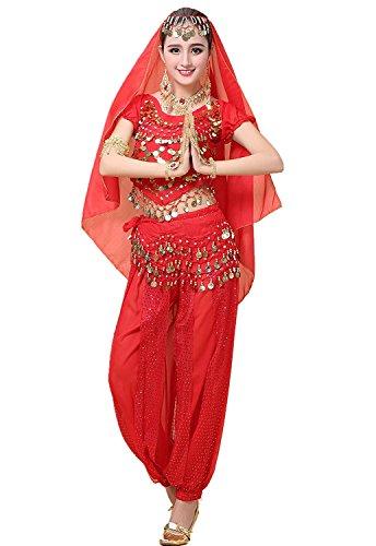 (ファッション アンブトンドール)ベリーダンス衣装 ダンス衣装 レディース ベリーダンス お祝い アラビアン衣装 社交ダンス  4点セット 6色 (レッド)