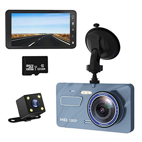 Zenoplige ドライブレコーダー 車載 カメラ 【最新版 IPSタッチパネル 32Gカードおまけ】前後カメラ デュアル ドラレコ カー カメラ 1080P フル HD 高画質 4インチ 170度広角 1200万画素 駐車監視/動 体検知/Gセンサー/HDR機能/ループ録画/暗視LED搭載