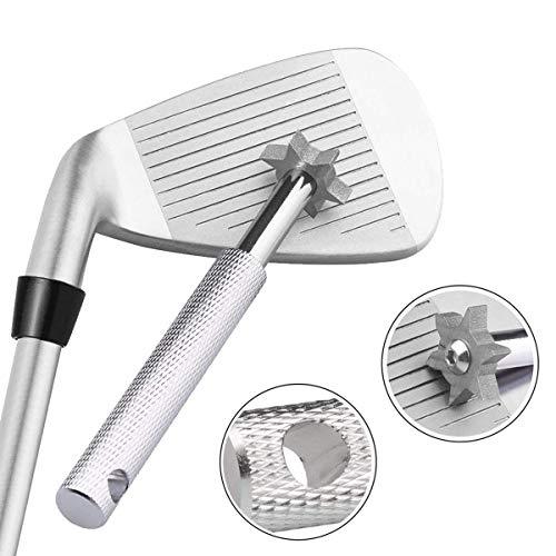 Halomy ゴルフクラブ グルーヴ シャープナー ゴルフ ウェッジ クリーナー 清潔用 アイアン溝のメンテナンスツール ゴルフアクセサリー 便利 軽量(シルバー)