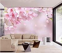 Lcymt ピンクの桃の花の壁画3D壁写真壁画用寝室のソファの背景壁紙壁フレスコ画家の装飾-150X120Cm