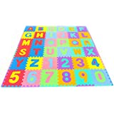 ProSource Kids Foam Puzzle Floor Play Mat with Alphabet Letters & Numbers 36 Tiles (30.5 cm x 30.5 cm) and 24 Borders