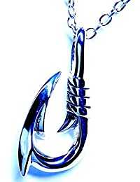 フィッシュフック(釣り針) モチーフ 大型ニードルチップデザイン メンズ ハワイアンジュエリー シルバー925 ペンダント ネックレス