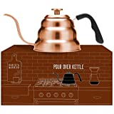 Copper Kettle with Thermometer for Exact Temperature - Copper Coated Gooseneck Pour Over Kettle for Coffee and Tea (1.0 Liter