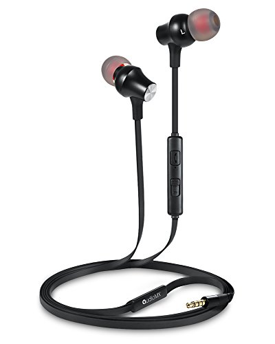 AudioMX EM-01B カナル型インナーイヤ 遮音ステレオイヤホン 音量調節可能 マイク付き (ブラック)