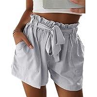 Macondoo Women's Paper Bag Bowknot Cozy High Waisted Hot Pants Belted Short Pants