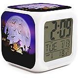 Hotqq 魔女 パグ ハロウィン コウモリ かぼちゃ おもしろ 7 LED 色変化 デジタル 温度計 目覚まし時計 液晶ディスプレイキューブ ナイトライト 子供用