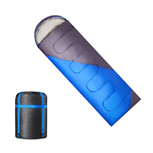 寝袋 KAIDI 封筒型 シュラフ キャンプ用寝具 スリーピングバッグ 冬用 1.8kg (ブルー)