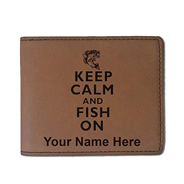 南アメリカスパーク形フェイクレザー財布 – Keep Calm and Fish On – カスタマイズ彫刻Included (ダークブラウン)