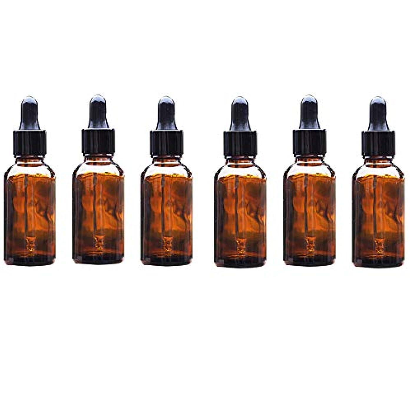 Lindexs スポイト遮光瓶 アロマボトル アロマ保存容器 アロマオイル エッセンシャルオイル 精油 小分け用 スポイト キャップ 茶色 遮光瓶 ガラス製 20ml 6本セット