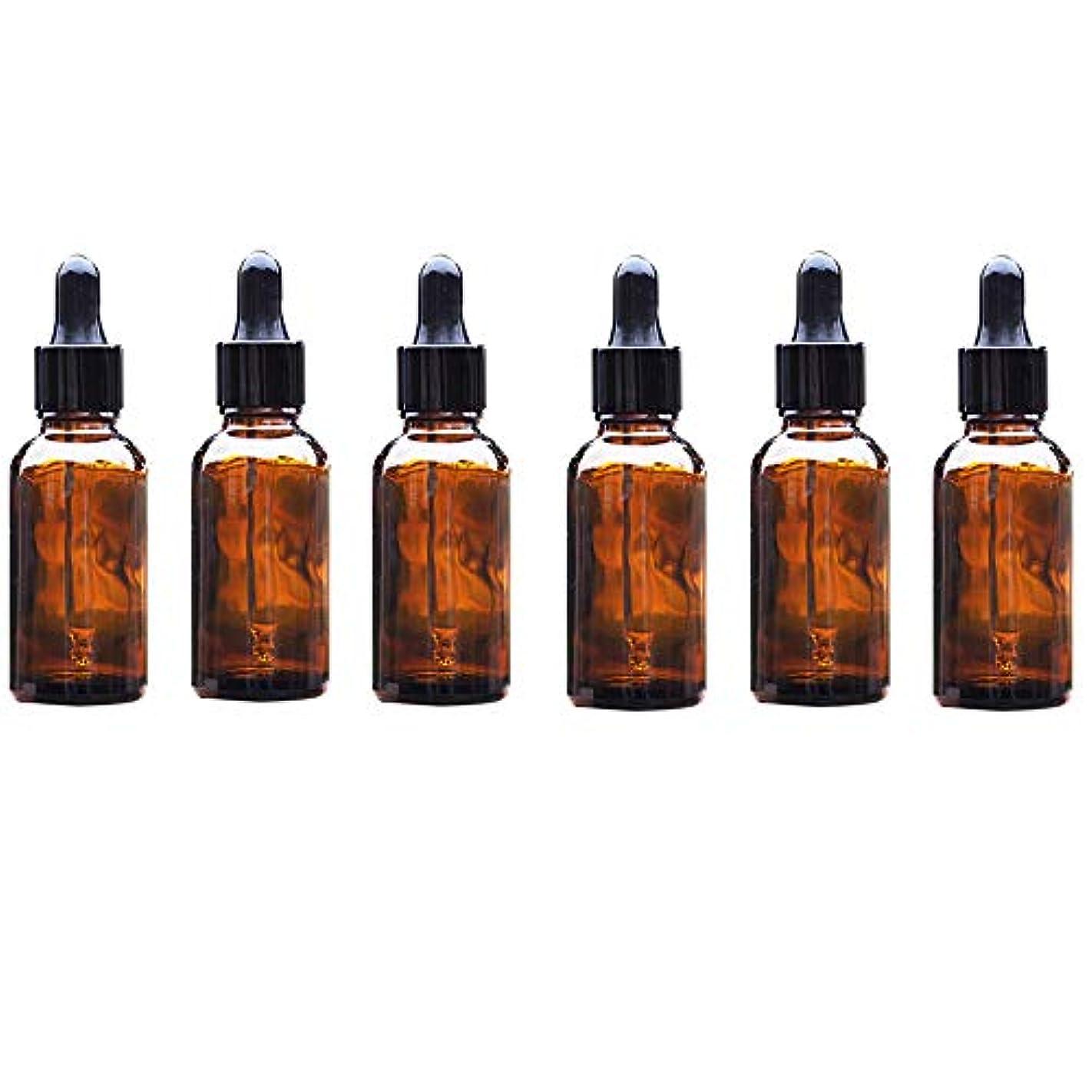 予見する多用途Lindexs スポイト遮光瓶 アロマボトル アロマ保存容器 アロマオイル エッセンシャルオイル 精油 小分け用 スポイト キャップ 茶色 遮光瓶 ガラス製 20ml 6本セット