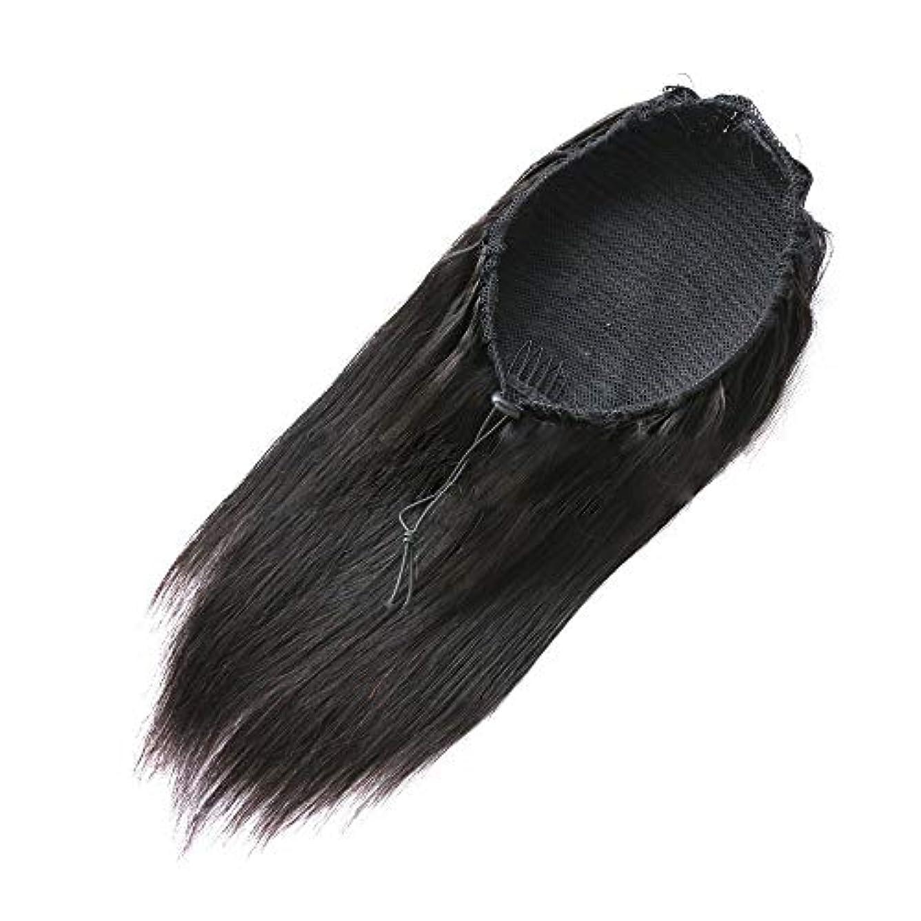 SRY-Wigファッション ファッションかつら人毛レース閉鎖かつらマレーシアレミー人毛かつら未処理レースフロントかつら女性の自然な色 (Color : ブラック, Size : 18inch)