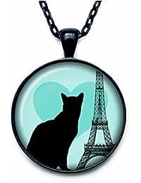 愛、黒猫とパリパリペンダントネックレスの愛と愛とパリ宝石ヴィンテージスタイルのアートペンダントチャーム