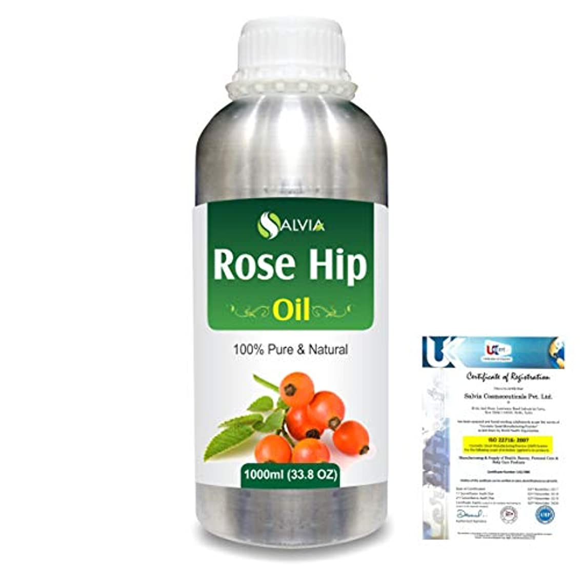 ヤギ実用的興味Rose Hip (Rosa moschata) Natural Pure Undiluted Uncut Carrier Oil 1000ml/33.8 fl.oz.
