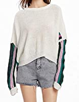 Tootess Women's Hit Color Long Sleeve Stylish Knitting Loose Pullover Sweater White L
