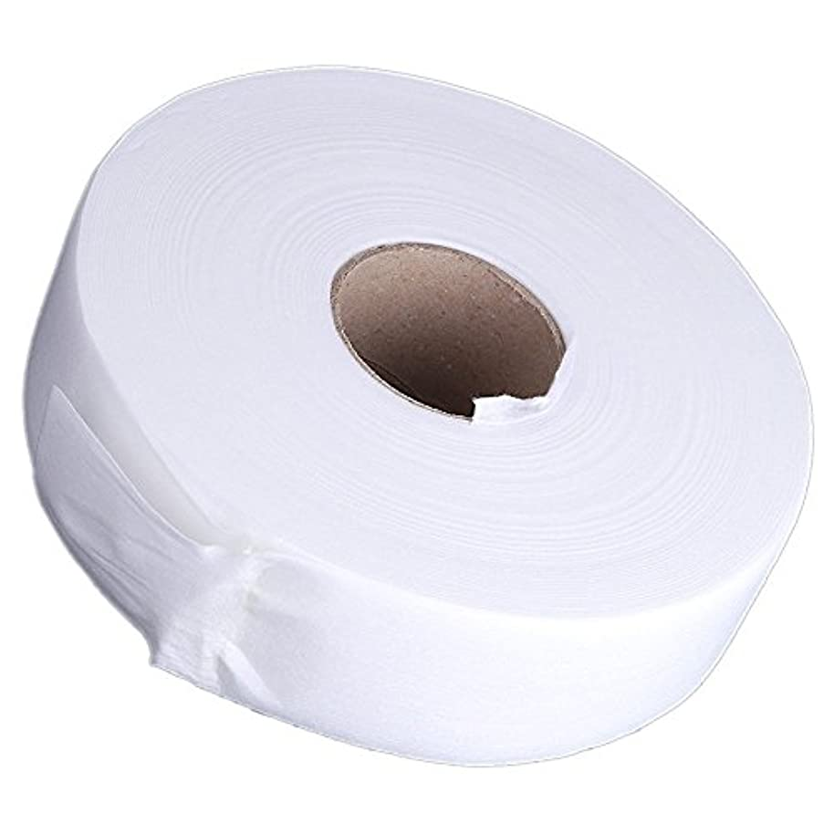 パフ消費者数Gaoominy 100ヤードの脱毛紙脱毛ワックスストリップ 不織布ペーパーワックスロール(白)