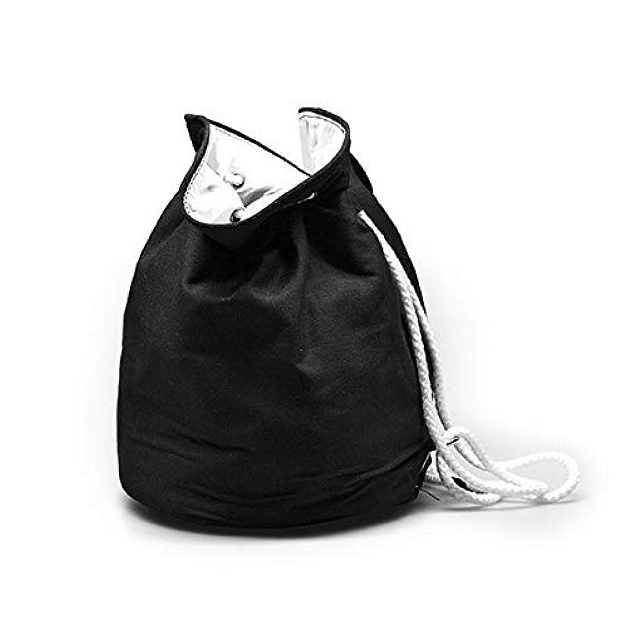 トレース花弁怪しい化粧オーガナイザーバッグ ポータブル巾着収納バッグ用化粧品化粧ブラシプロの旅行化粧バッグ旅行アクセサリー大容量防水ウォッシュバッグ 化粧品ケース (色 : ブラック, サイズ : 35x28cm)