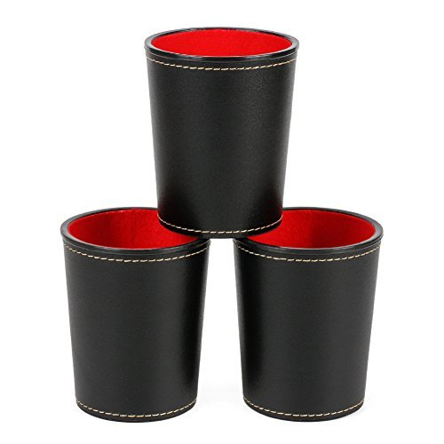"PUレザーDice Cup with赤フェルト裏地、bidear Mini 3.5"" Dice Shaker–3カップ"