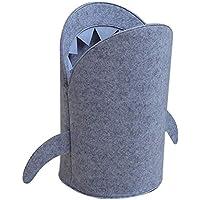 P Prettyia サメのデザイン 布 折り畳み式 ぬいぐるみ おもちゃ 収納袋 収納バスケット 全2サイズ - L