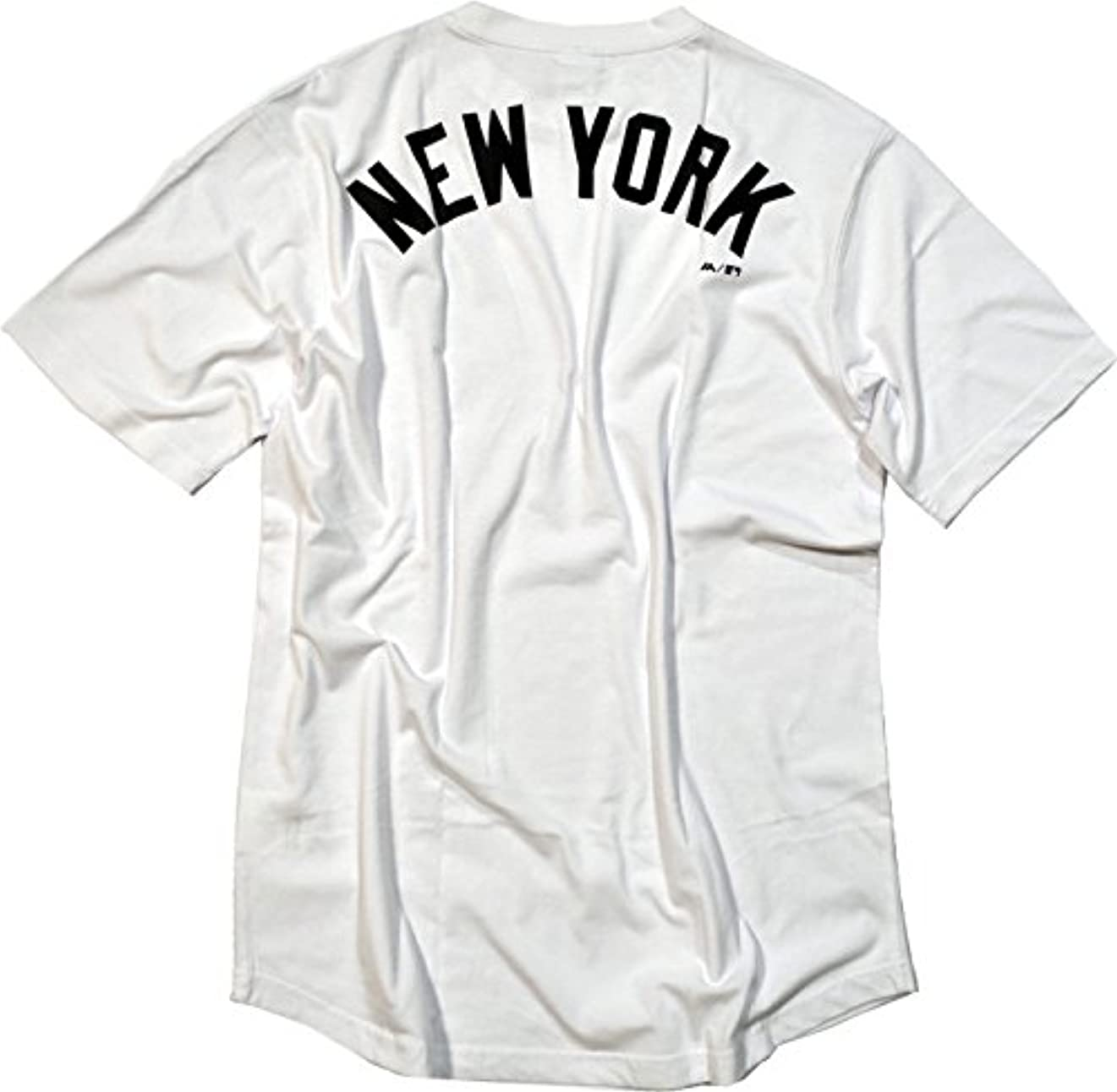 無臭科学と遊ぶTシャツ 半袖丸首ワンポイント&バックプリント裾ラウンド仕様 ニューヨークヤンキース Majestic(マジェスティック)