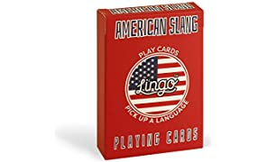 American Slang Playing Cards - Lingo Playing Cards | Language Learning Game Set | Fun Visual Flashcard Deck to Increase Vocabulary and Pronunciation Skills - 54 Useful Phrases