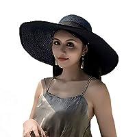 【Abz Company】折りたたみ 女優 帽 大きめ リボン つば広 麦わら帽子 レディース 帽子 ストローハット 夏用 紫外線対策 アウトドア 女優帽 リボン 日よけ帽 麦わら帽子 カラ- No6 ネイビーR 黒