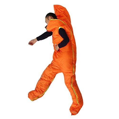 OUTERDO 人型シュラフ 人型寝袋 アウトドア キャンプ 昼休み 大人用 男女兼用 オレンジ・ブルー オレンジ 220*80 /198*75cm