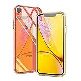 Meidu iPhone XR ケース クリア 耐衝撃 背面ガラス9H硬度 + TPUバンパー 「超薄型」 「キズ防止」 iPhone XR スマホケース - 6.1 インチ クリスタルクリア