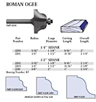 Whiteside Router Bits 2200 Roman Ogee Bit with 5/32-Inch Radius 1-1/8-Inch Large Diameter 9/16-Inch Cutting Length [並行輸入品]