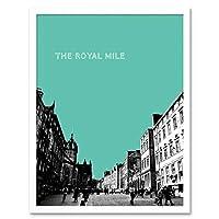 Royal Mile Edinburgh Scotland Famous Street Teal Art Print Framed Poster Wall Decor 12X16 Inch ロイヤルエジンバラスコットランド通りポスター壁デコ